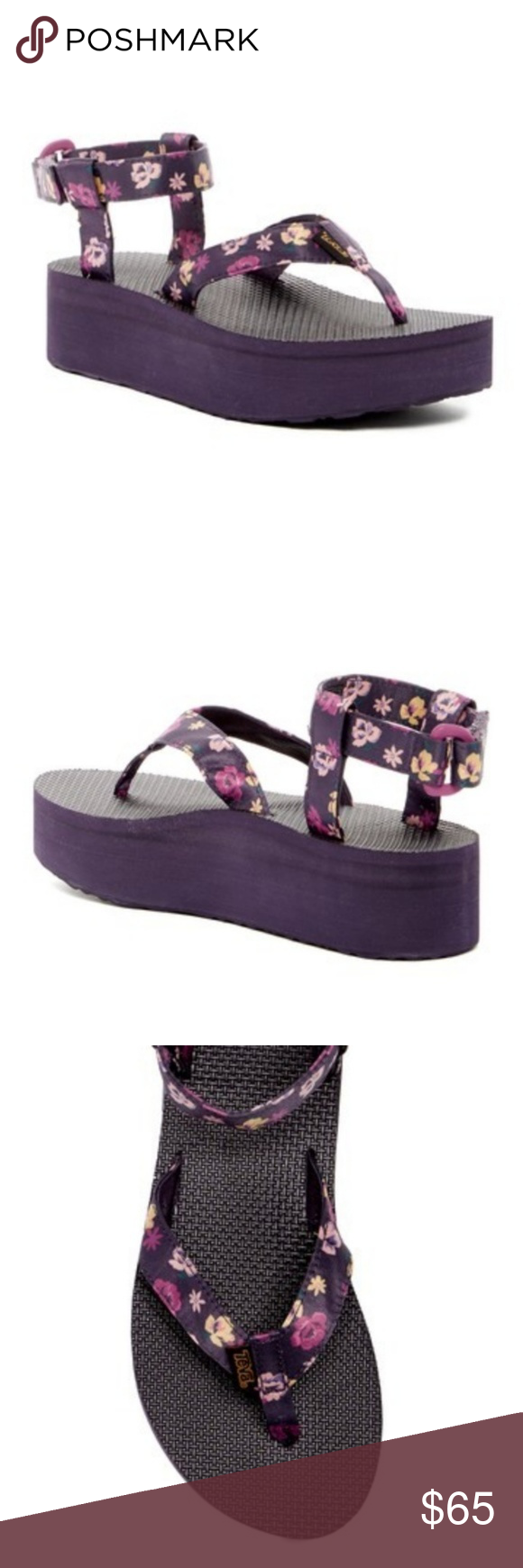 39236e89e35e NWT Teva Purple Floral Flatform Thong Sandal NWT Teva Purple Floral  Flatform Thong Sandal How perfect