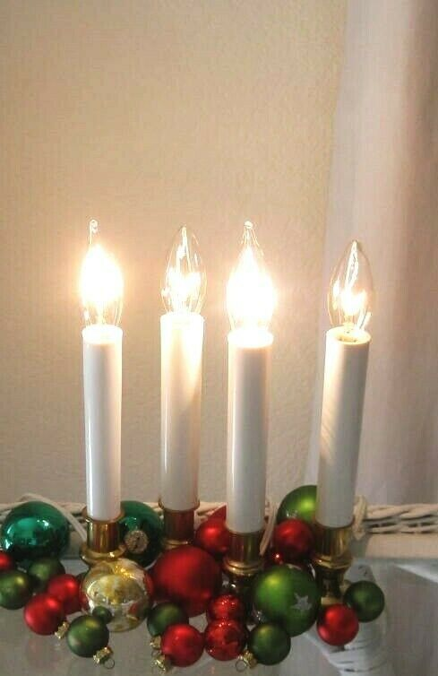 Photo of 4 VINTAGE BRASS ELECTRIC CANDLESTICKS WHITE CANDLES STUNNING…