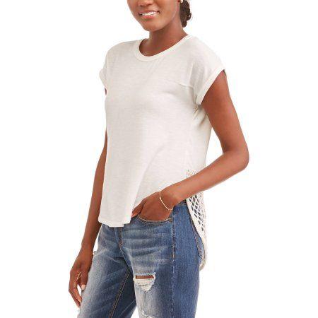 Thyme and Honey Women's Short Sleeve Hi-Lo Lace Hem T-Shirt, Size: Small, White