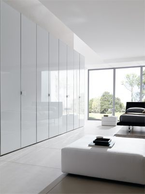 Hinged Door Wardrobe In Glass Combi System Cabinet With Doors And Handles In Glossy White Gla Bedroom False Ceiling Design Minimalism Interior Wardrobe Doors