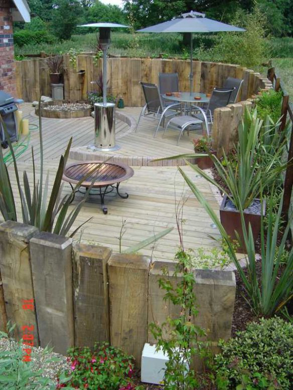 great garden ideas with railway sleepers and decking - Garden Ideas Using Sleepers