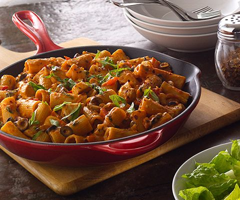 Chicken Rigatoni - Classico® Pasta Sauce  I used Penne, no olives, and cream cheese. So good!