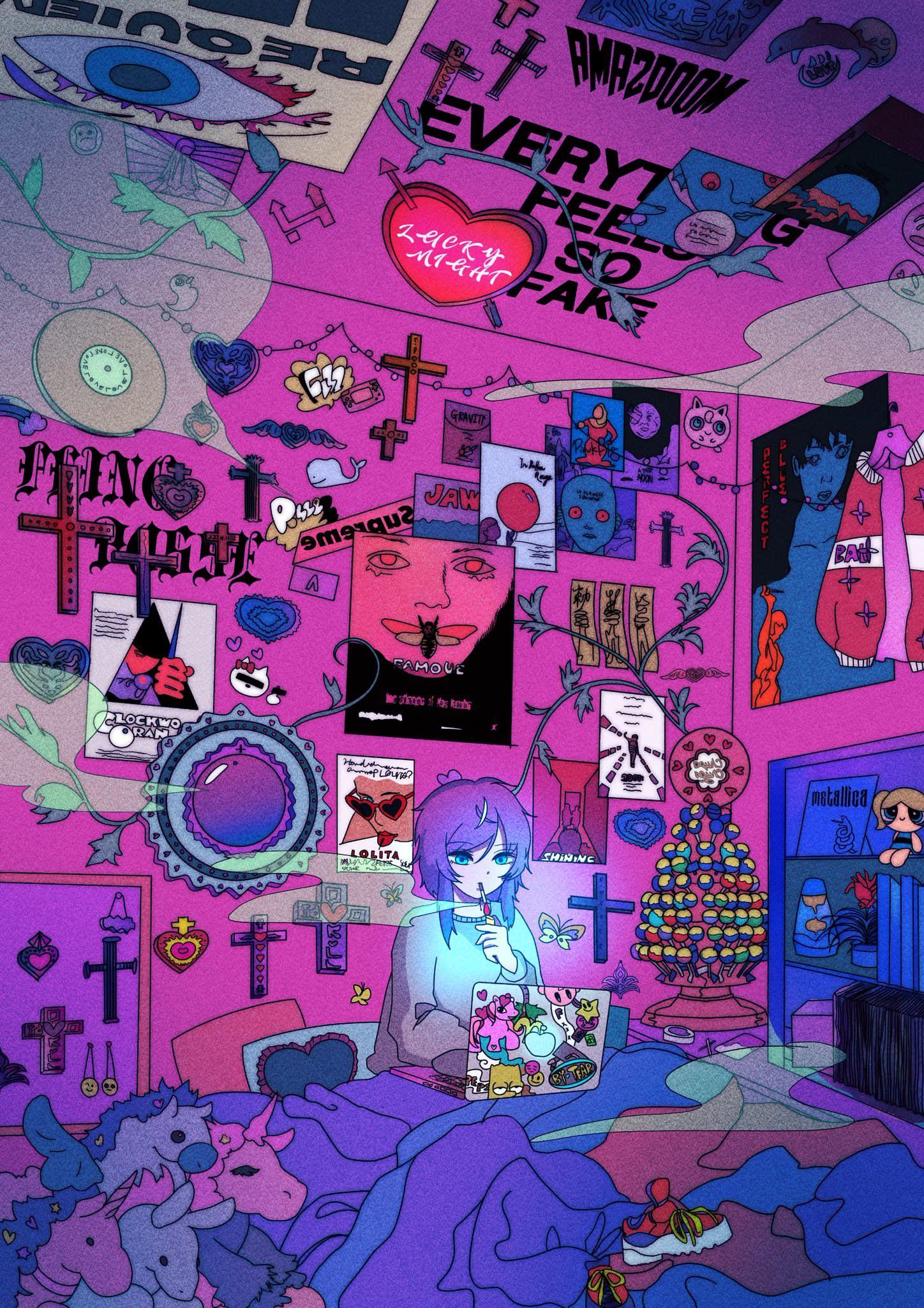 Division All Stars Ã'プノシスマイク Matenrou Hypnosis Mic Hypmic Ã'プマイ Anime Music Rap Japanese Anime Wall Art Kawaii Art Anime Art Girl
