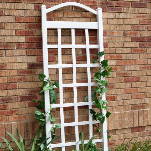 6 White Vinyl Garden Trellis Arch Top Ground Mount Anchors