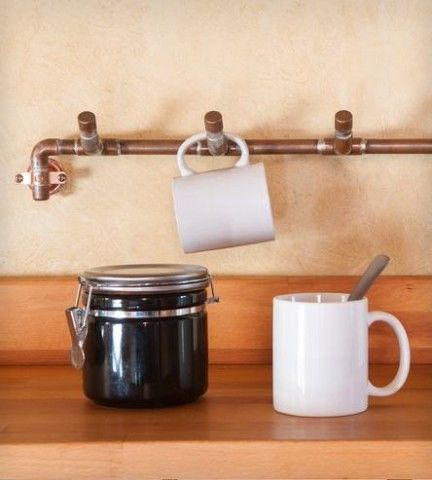 Industrial Copper Mug Rack For Your Welding Friend To Make For Countertop Clutter Mug Rack Copper Mugs Stoneware Mugs