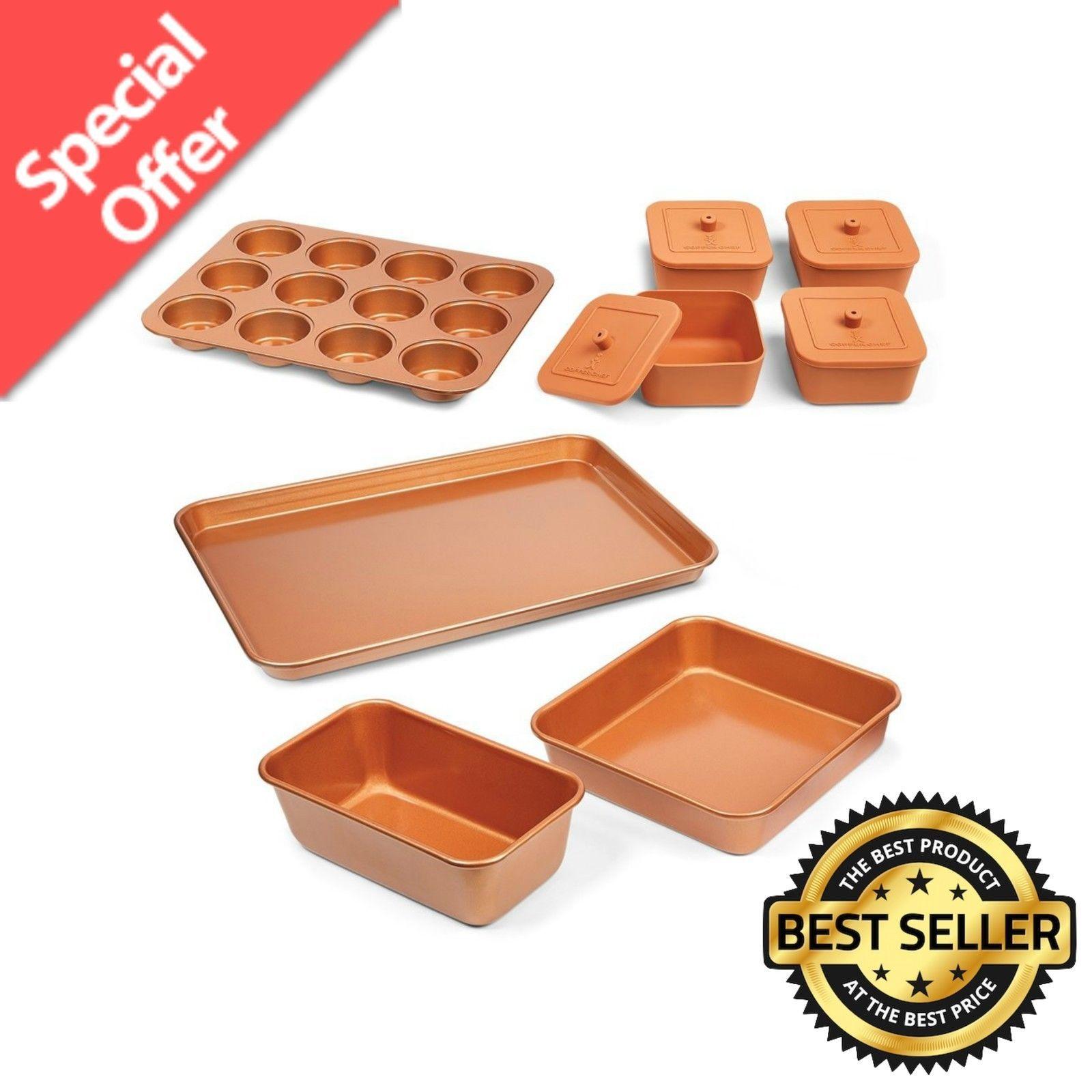 Copper Chef 12 Pcs Bakeware Set Non Stick Cookie Sheet Pan Ramekin