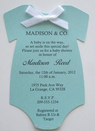 Tiffany Co Inspired Onesie Baby Shower Invitations Keepsake