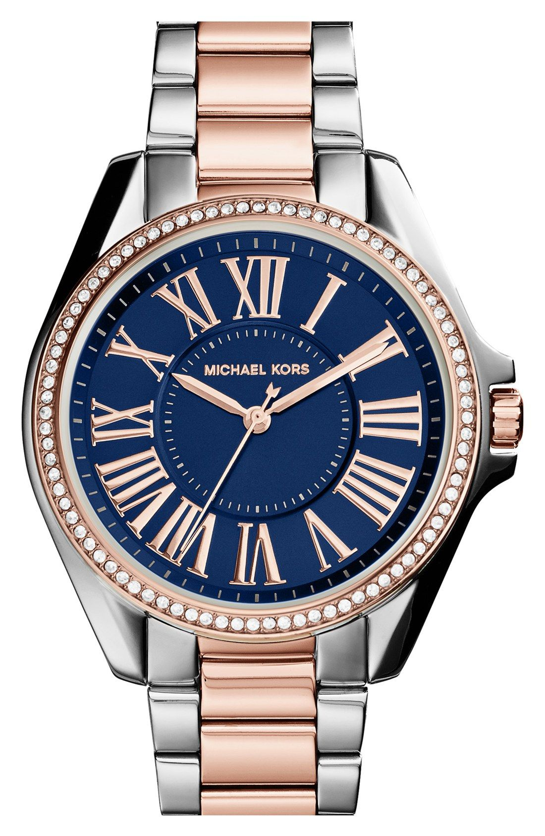Such a gorgeous mix of navy, rose gold   crystals   Michael Kors crystal  bracelet watch. eabafc5d0f