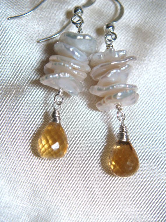 Faceted+briolette+citrine+with+keshi+pearl+by+arionjewelry+on+Etsy,+$47.00