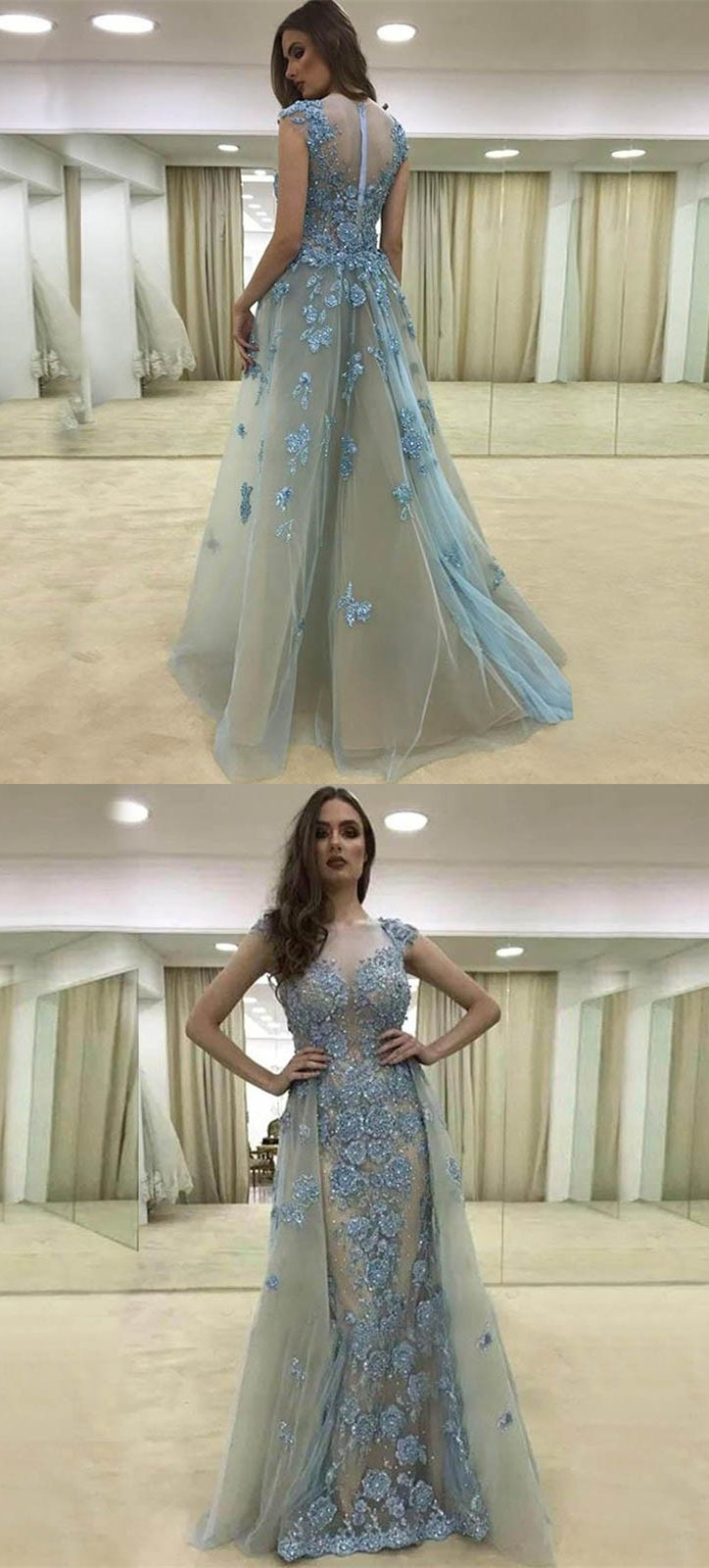 A-Line Spaghetti Straps Sweep Train Light Blue Tulle Prom Dress with ...