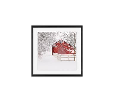 Red Barn in the Snow by Cindy Taylor, 18 x 18\