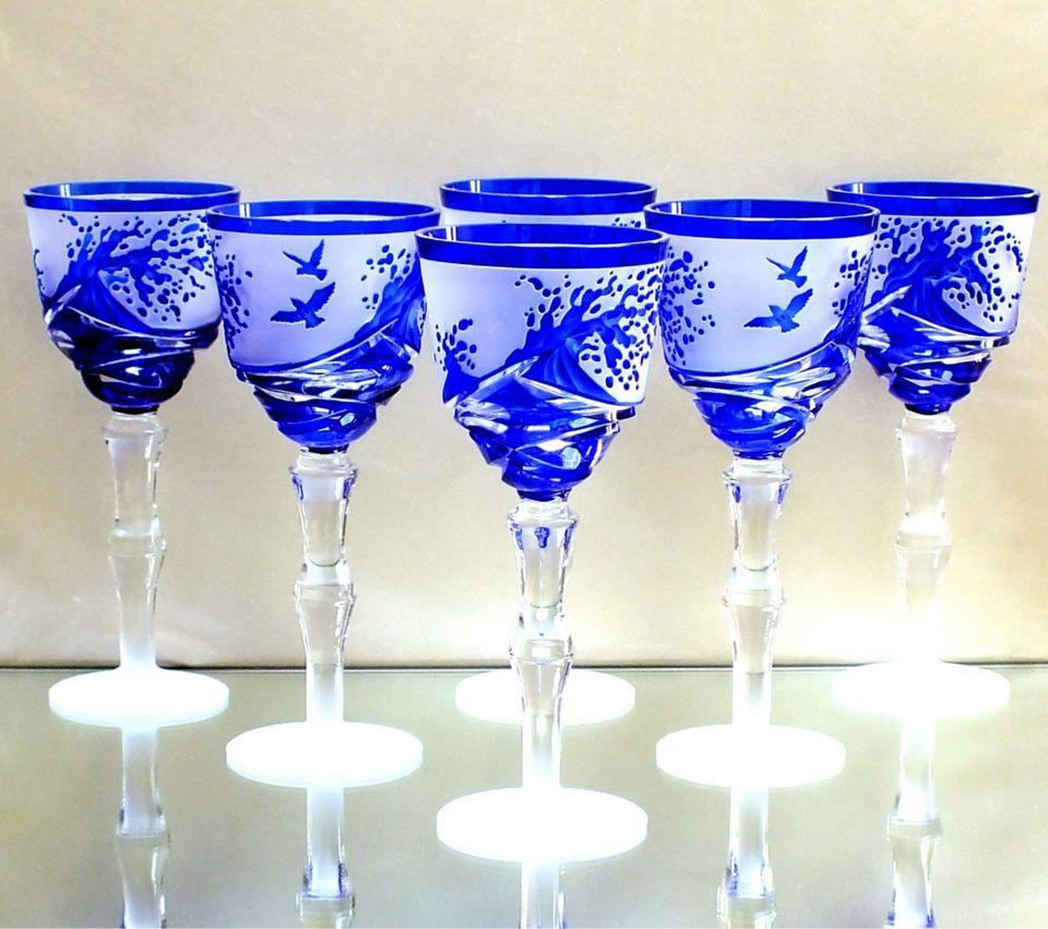 6 Art Deco Römer Überfanggläser Kristall Böhmen Bohemia Kunstglas