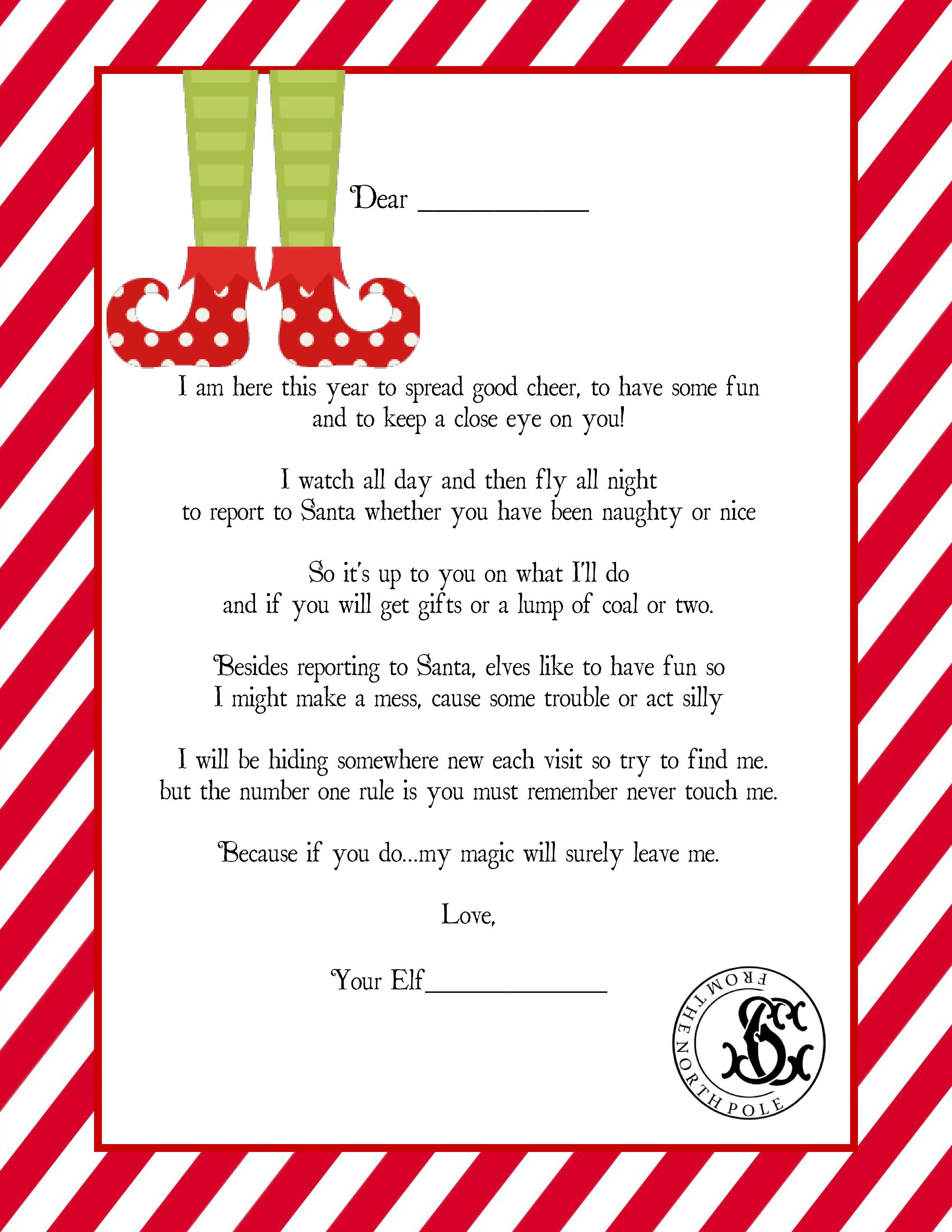 It's just an image of Breathtaking Letter From Elf on the Shelf Printable