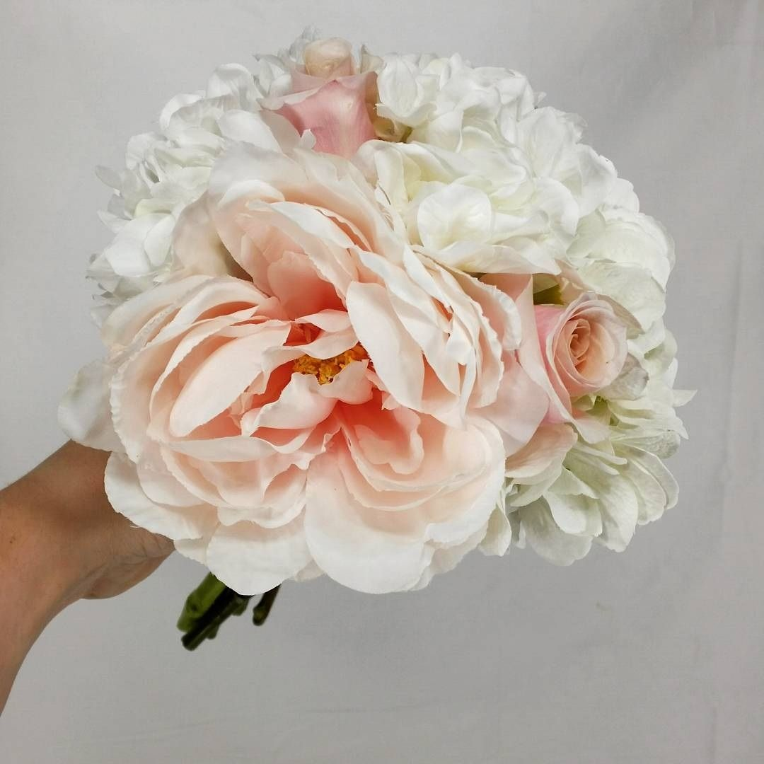 Large Light Pink Roses Silk White Hydrangea And Silk Pink Peony