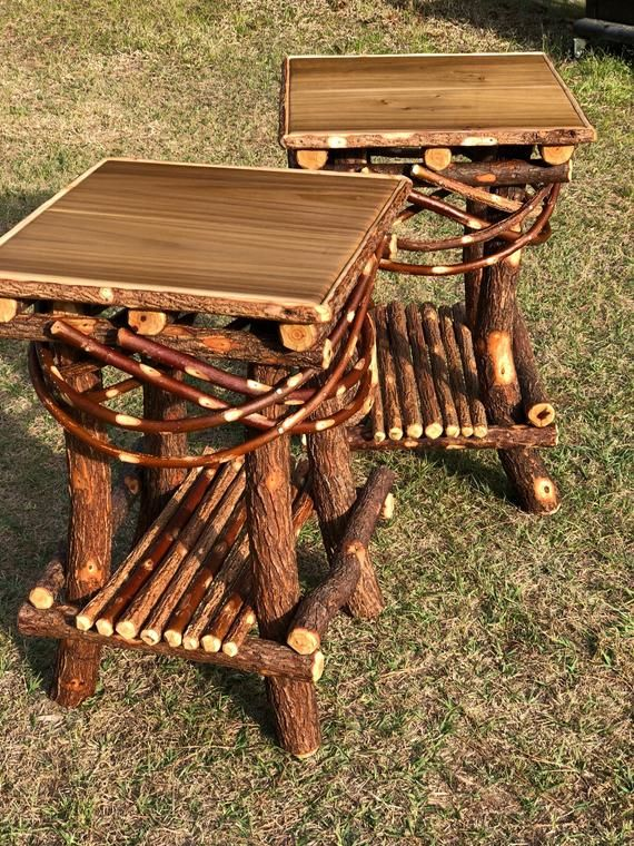 Handmade rustic table ** twig bentwood table .. intricate inlaid top or solid wood top