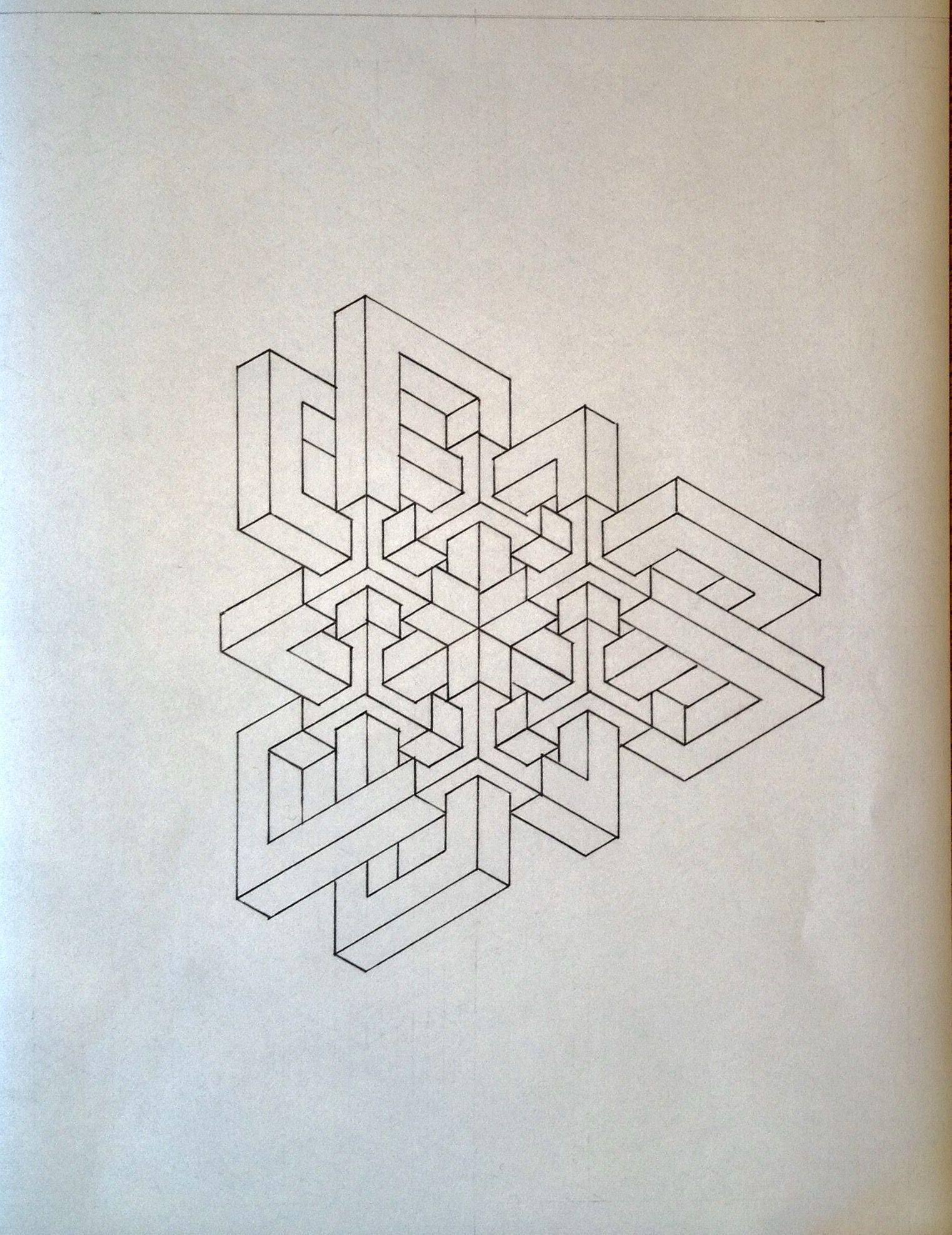 #impossible #isometric #geometry #symmetry #pattern #handmade #oscarreutersvärd #Escher #mathart #regolo54 #opticalillusion #penrosetriangle