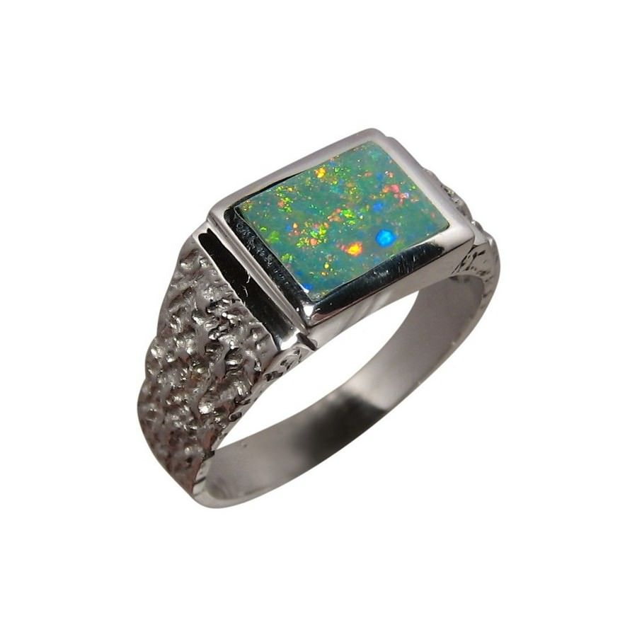Mens Opal Ring Opal rings Bright colours and Sterling silver