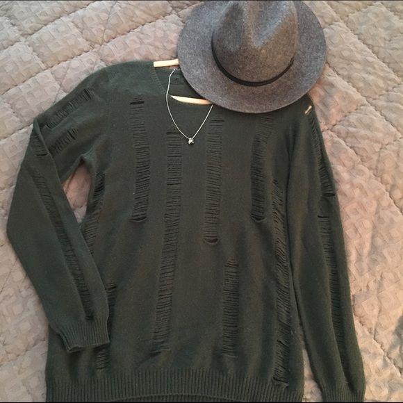 """Soft Aqua Cashmere Sweater """"Distressed"""" cashmere sweater by Aqua in a gorgeous hunter green. Aqua Sweaters Crew & Scoop Necks"""