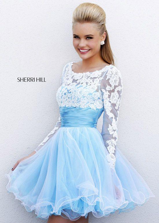 2014 Sherri Hill 21234 Blue/Ivory Lace Homecoming Dress - $170.00 ...