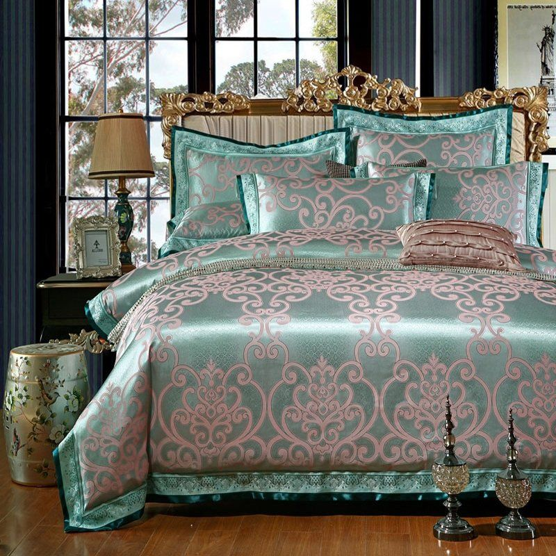 Teal and Gold Gothic Pattern Indian Bohemian Style Shabby