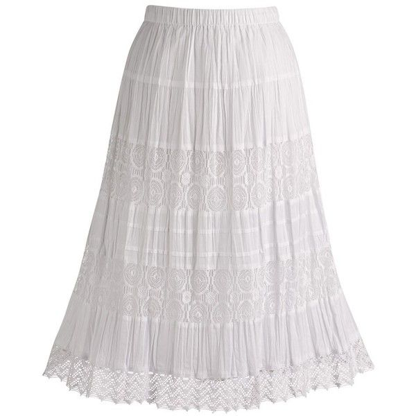 Women's Boho White Cotton Lace Maxi Peasant Skirt ($30) ❤ liked ...