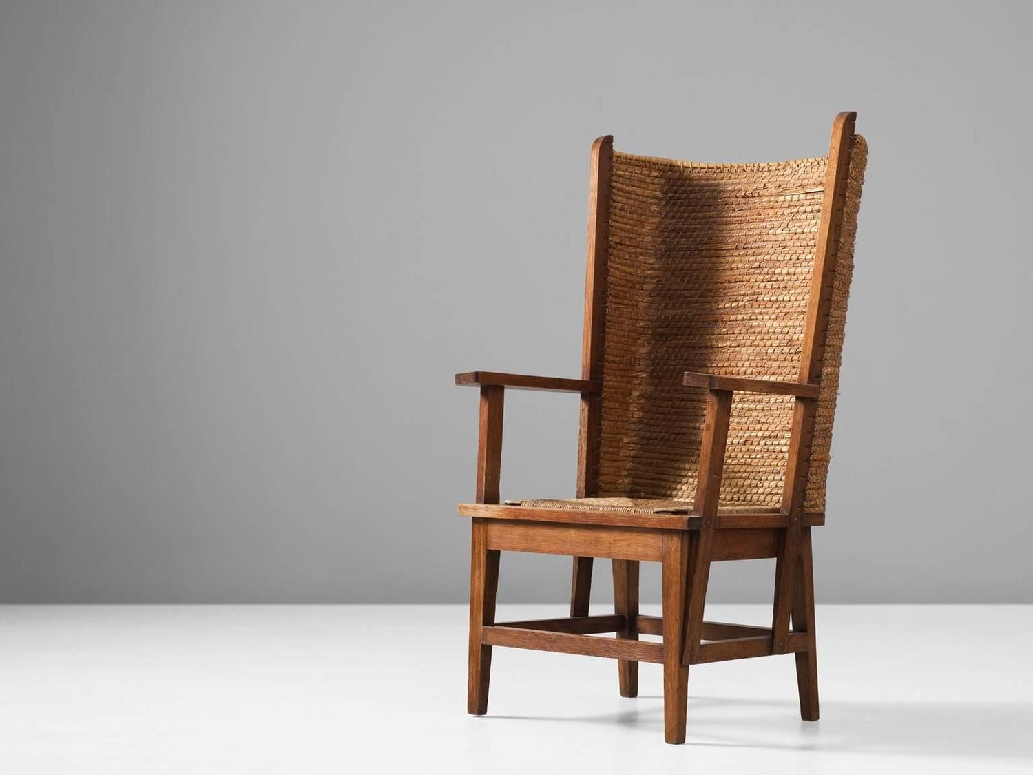 Scottish Orkney Chair with Woven Back and Oak Frame - Scottish Orkney Chair With Woven Back And Oak Frame Armchairs