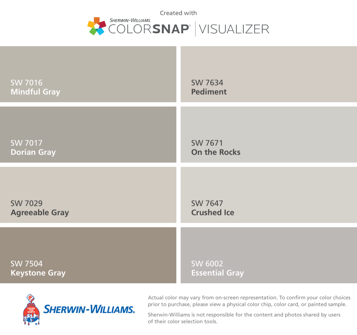 I Found These Colors With Colorsnap Visualizer For Iphone By Sherwin Williams Mindful Gray Sw