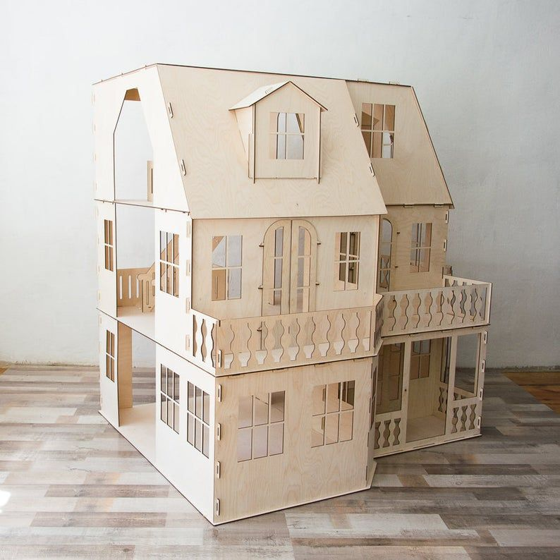 Two-storey Victorian Dollhouse, dollhouse, Wood dollhouse, Dollhouse kit, Natural dollhouse, Modern dollhouse, 1:12 scale