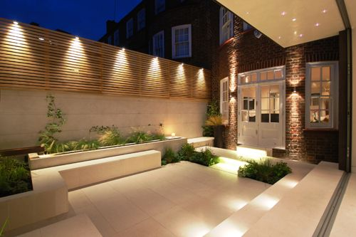 Garden illuminations and great patio for entertaining lets take modern backyard with outdoor recessed lighting aloadofball Gallery