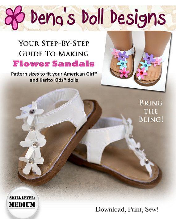 156e0ecce7f23 Pixie Faire Dena's Doll Designs Flower Sandals Doll Shoe Pattern ...