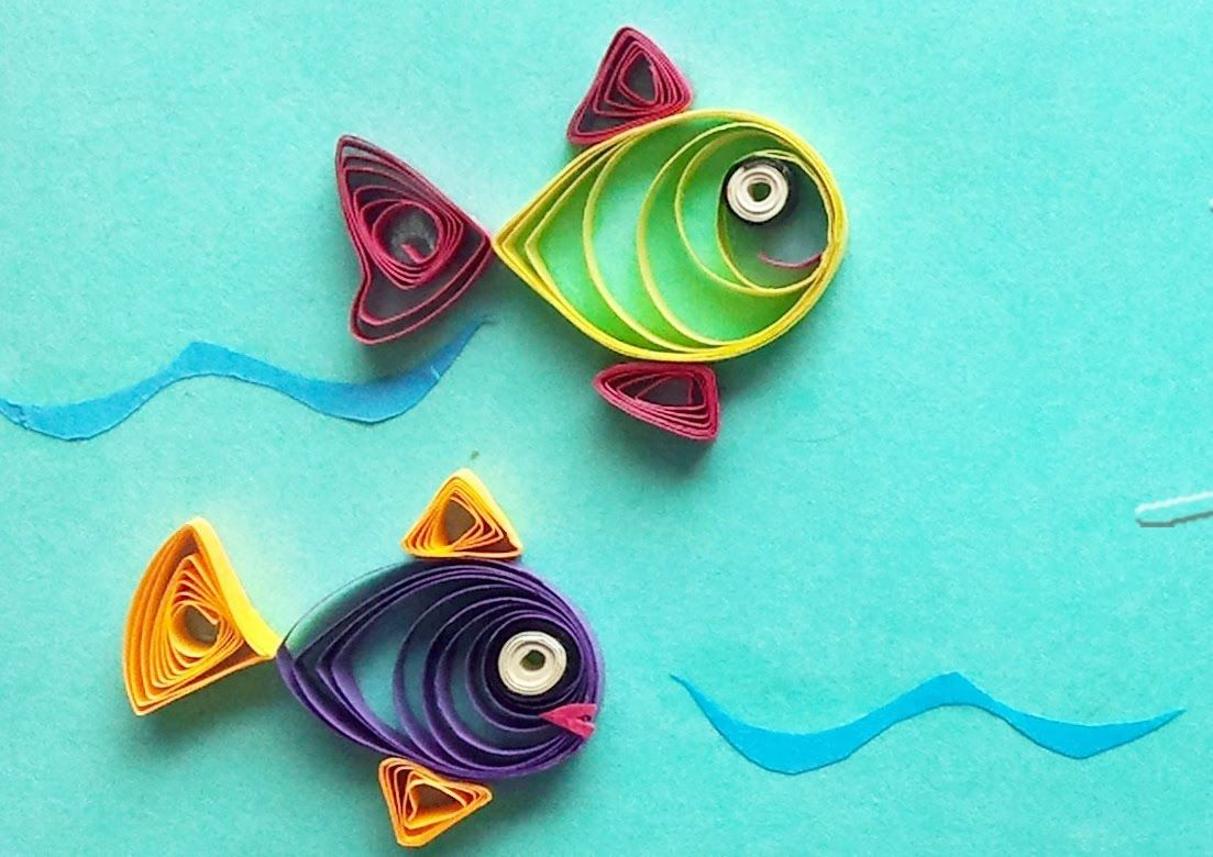Quilling made easy how to make beautiful fish design for Simple designs on paper