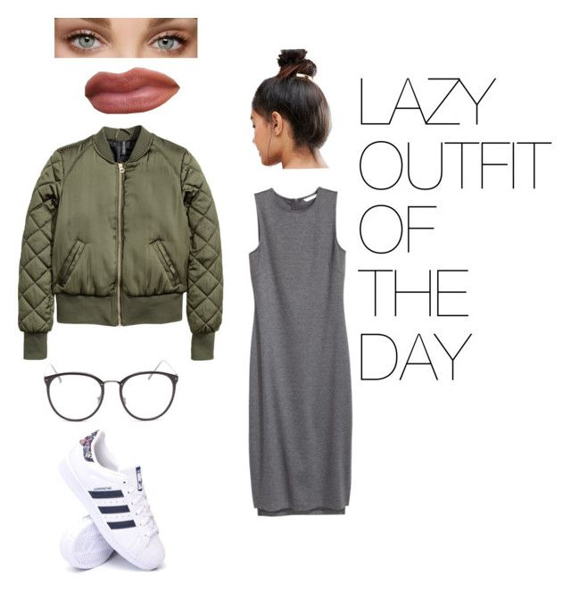 """""""Lazy ootd"""" by fhk21 on Polyvore featuring H&M, adidas, Linda Farrow and Kitsch"""