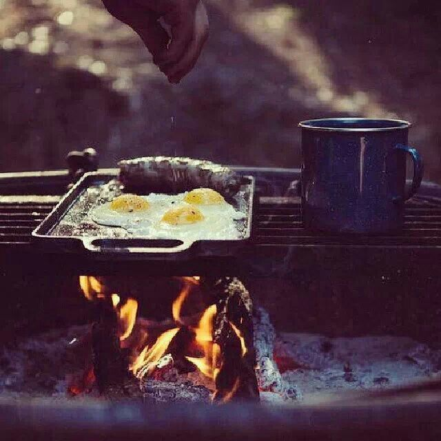 Fried eggs and coffee