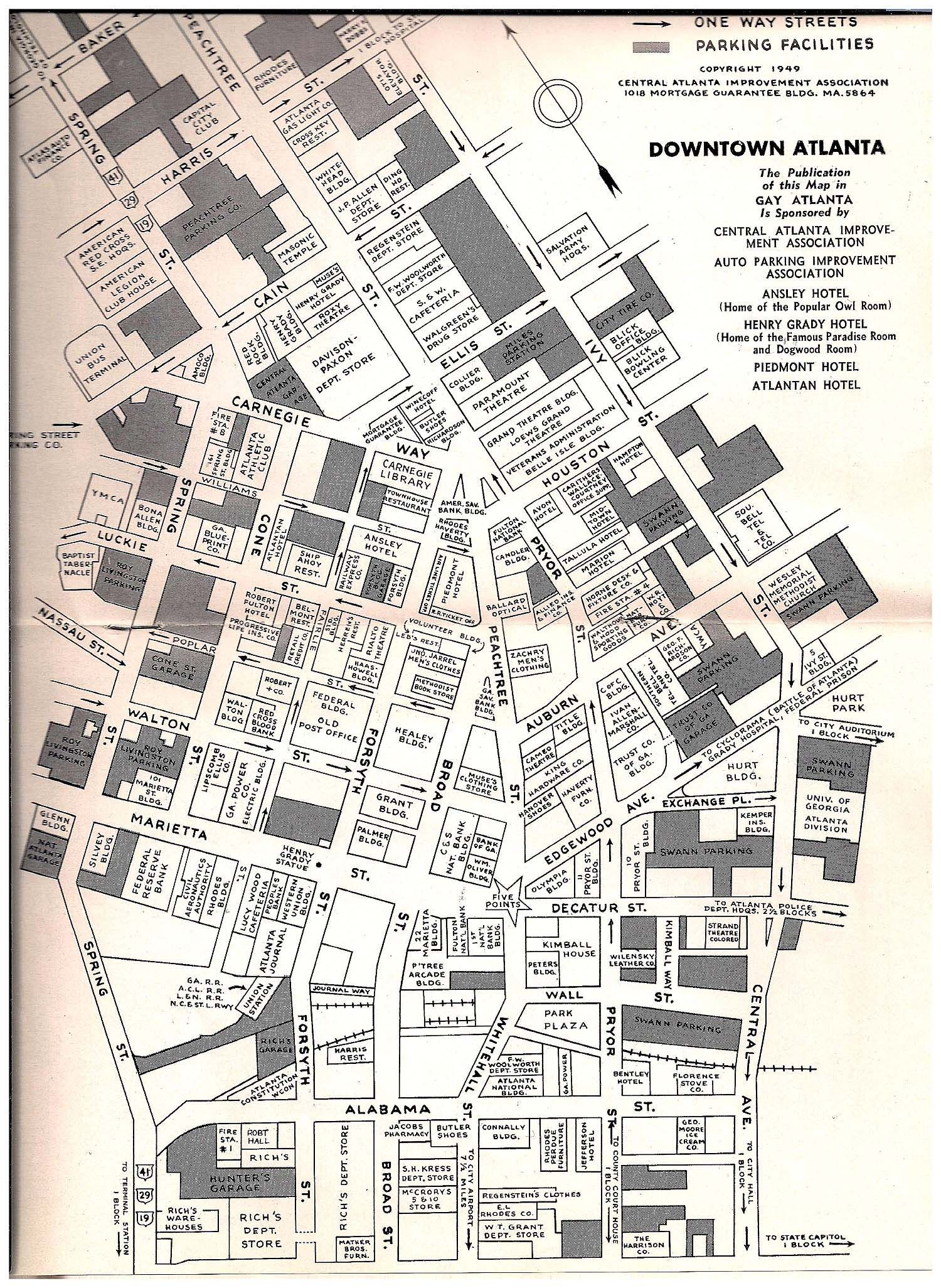 Seen Here Is A 1949 Map Of Downtown Atlanta Taken From The Pages Of