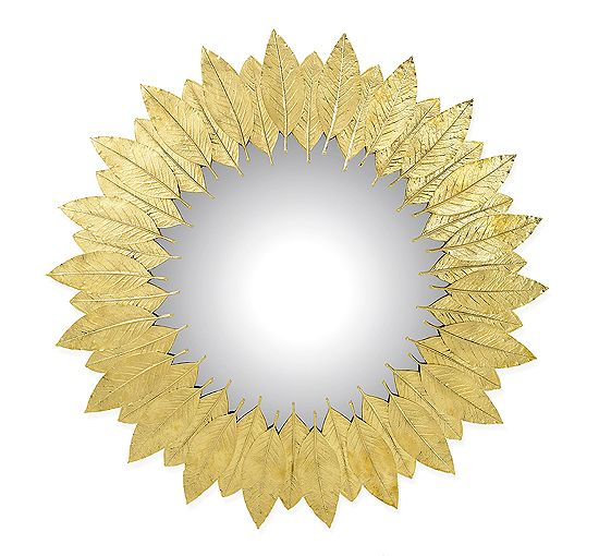 Mirror made from cast metal leaves finished in Brass, Copper or ...