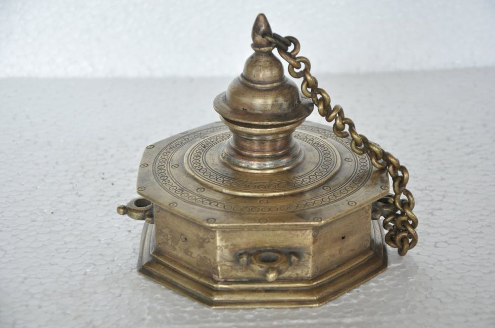 Rare 1930's Old Unique Engraved Big Handcrafted Octagonal Shape Inkpot / Well