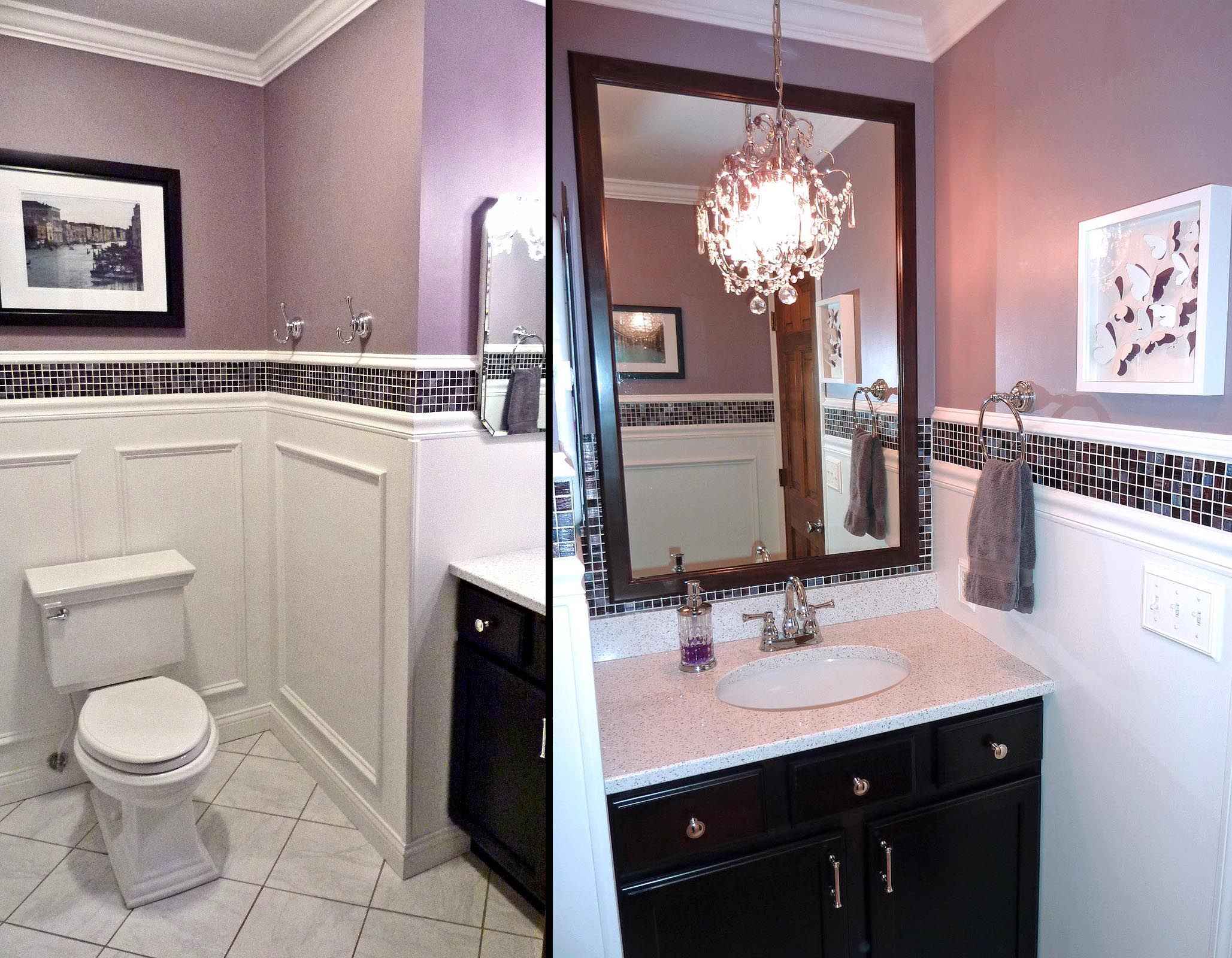 South Bay Guest Bath, Purple Glass Tile, Quartz Counter, Chandelier,