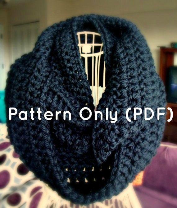 Crochet Patrón bufanda Infinity por CrochetbyYJ en Etsy | tutorial ...