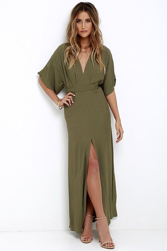 86a1e9362e9 Take a joy-filled jaunt on a breezy day with the Where the Wind Blows Olive  Green Maxi Dress! Textured woven poly shapes this casual maxi dress with ...