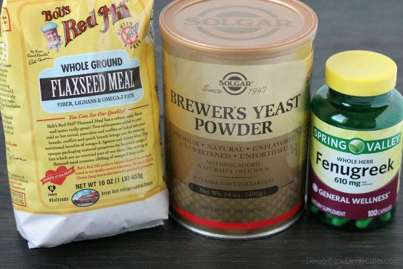 Milk boosting ingredients flaxseed, brewer's yeast, and