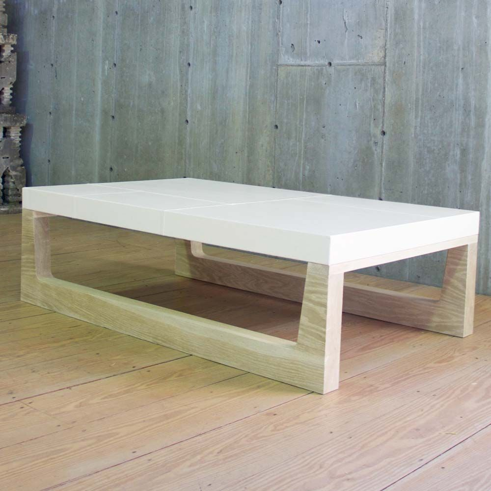 Modern Cerused Oak Base Coffee Table With Wrapped Linen Top, With Seam  Details. This