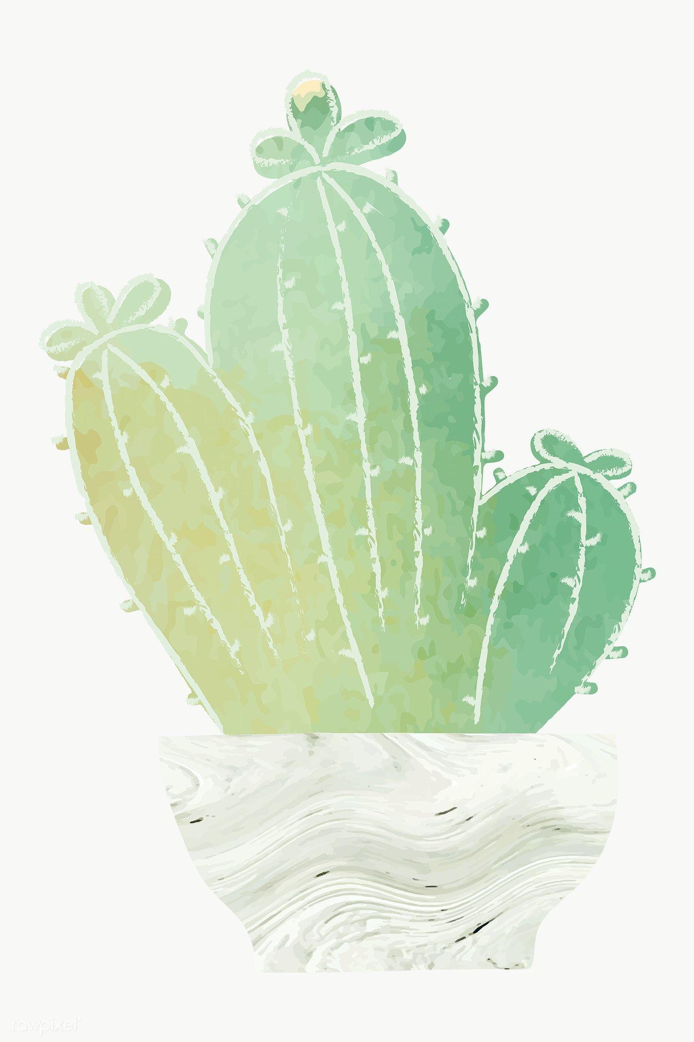 Download Premium Png Of Watercolor Cactus Pot Sticker 2023126 Kaktus Ide