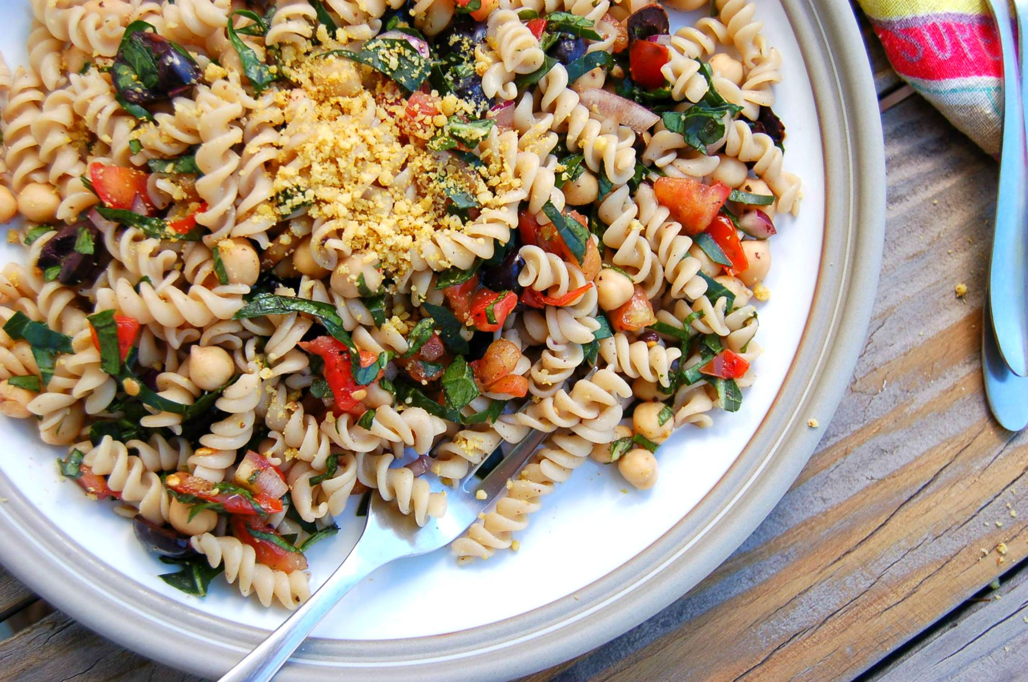 "Quick and easy antipasto pasta salad with walnut ""parmesan"" topping"