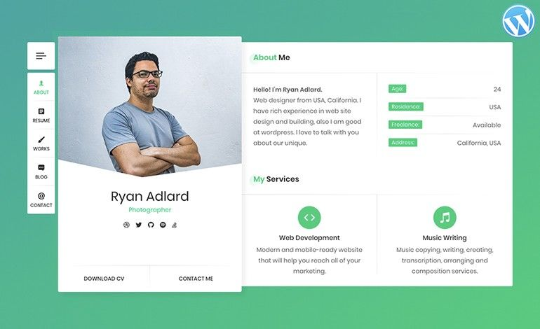Ryan Cv Resume Vcard Wordpress Theme By Beshleyuathemes