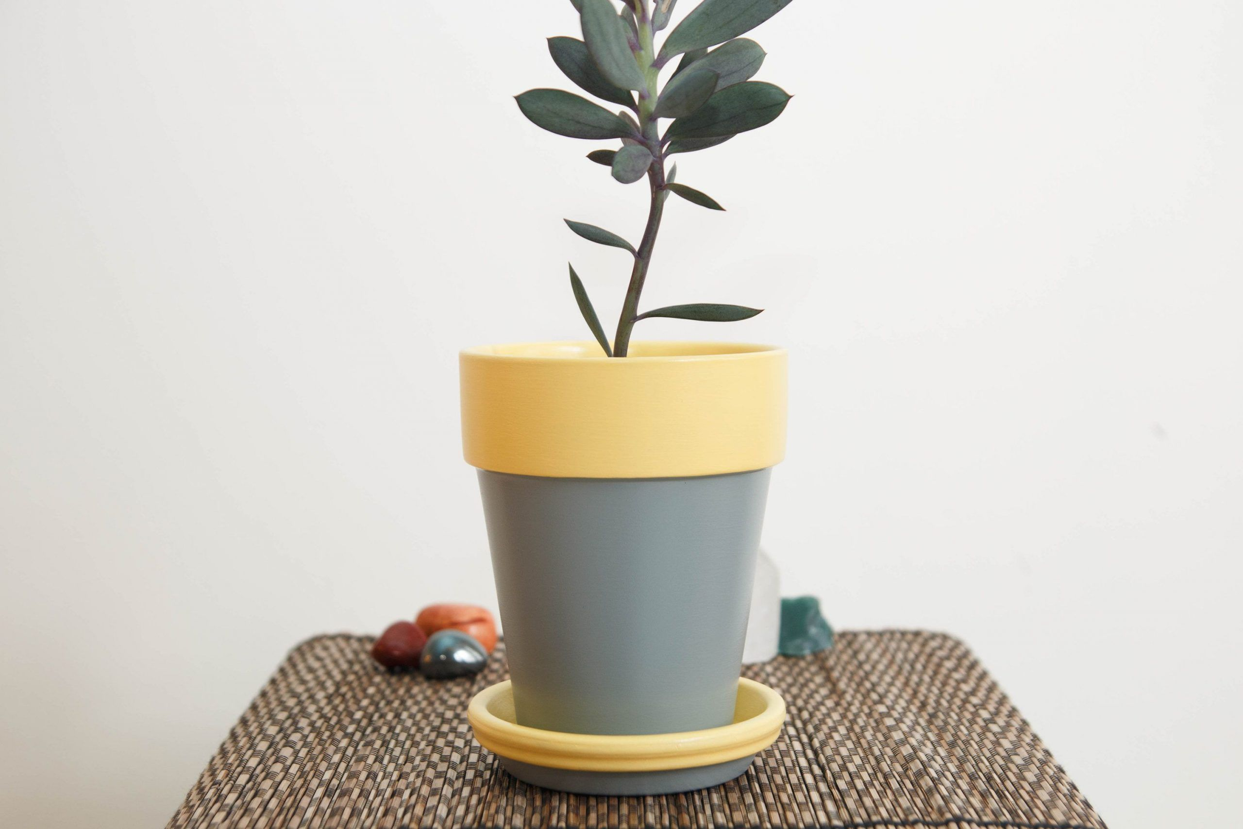 Mindful Hand Painted 4 1 2 Inch Gray And Yellow Abstract Acrylic Pot Decorative Pot Terracotta Pot Succulent Pot Home Decor In 2020 Decorative Pots Terracotta Pots Abstract Acrylic