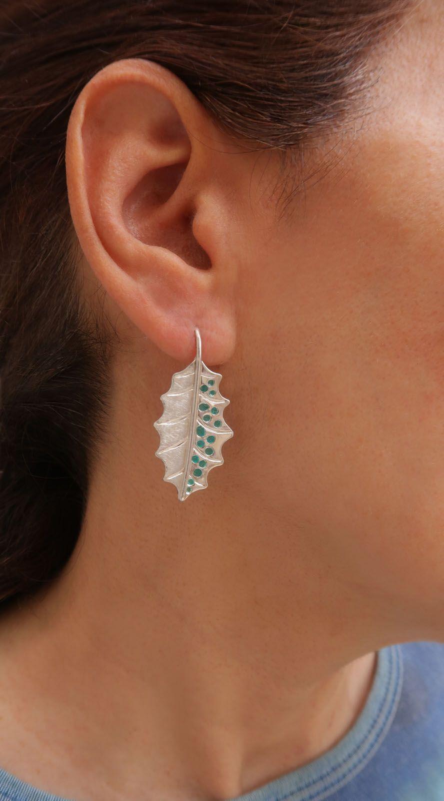 Dangle Style Leaf Earrings Fine Silver Organic Themed Earrings