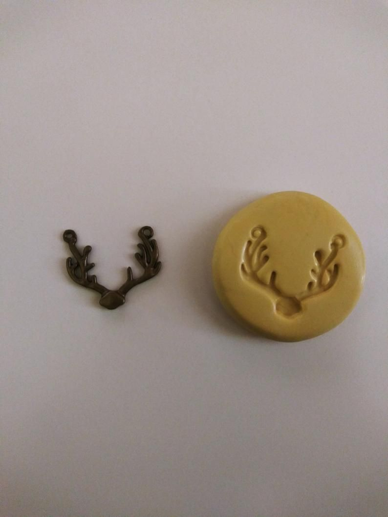 Fondant Clay Jewelry Charms Chocolate Soap   Flexible Molds Key Mold Mould DAM0100/_1 Double Antler Mold for Resin
