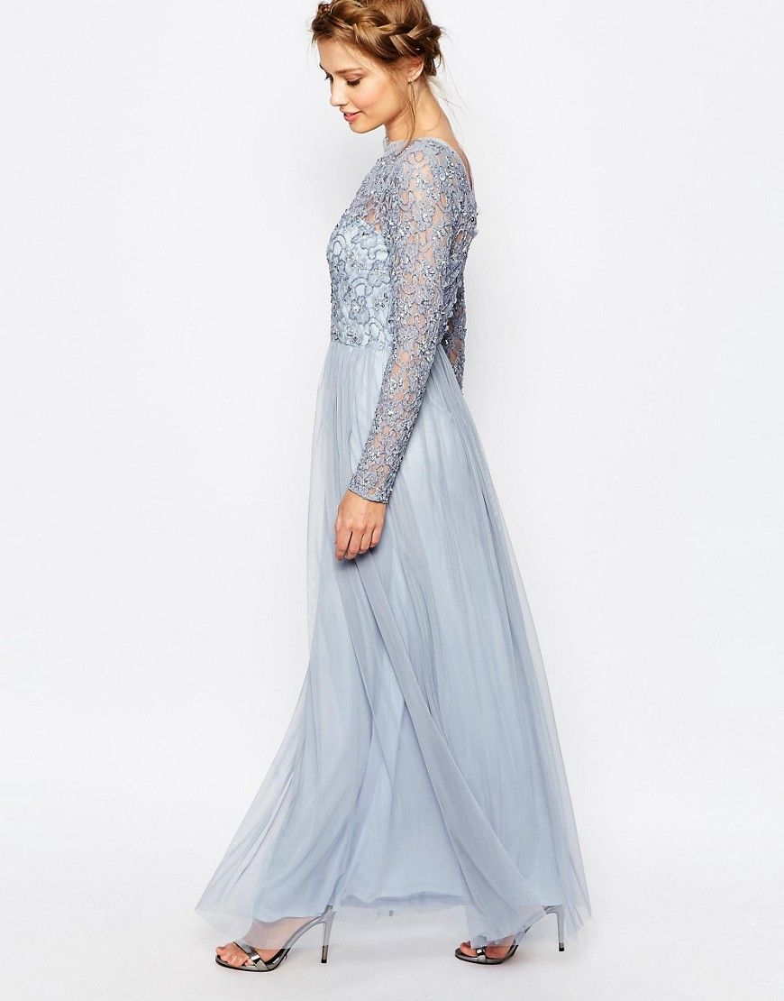 Image of frock and frill embellished lace overlay maxi dress