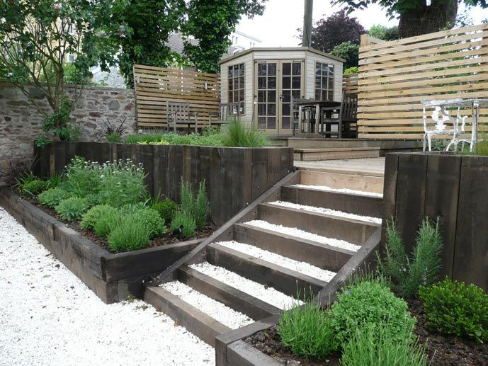 Garden Design Using Sleepers love the chunky raised beds and the wooden privacy screen | garden