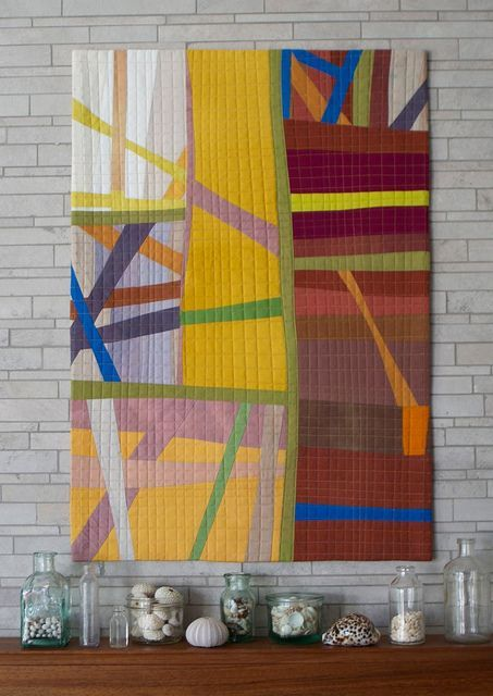 Modern quilt wall hanger made from only solids. Love the design and quilting lines